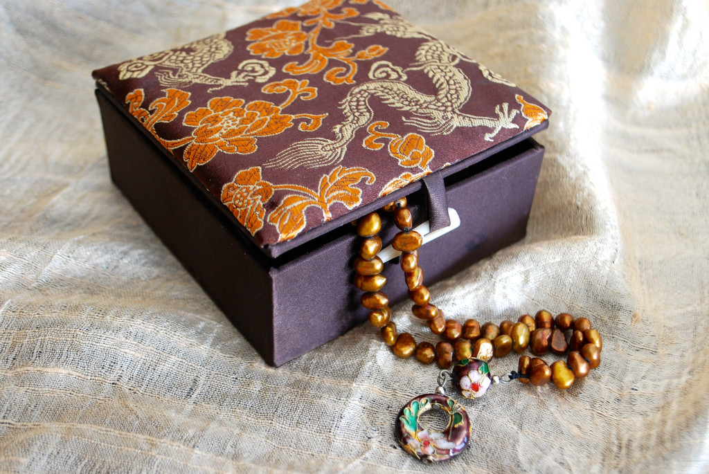 Copper water pearl prayer beads packaged in umber floral elegant box