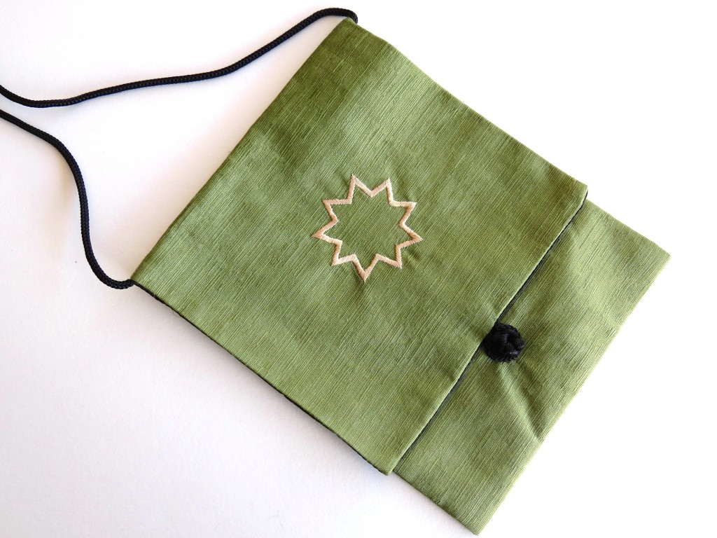 Celadon green linen bag to carry prayer books or other small books