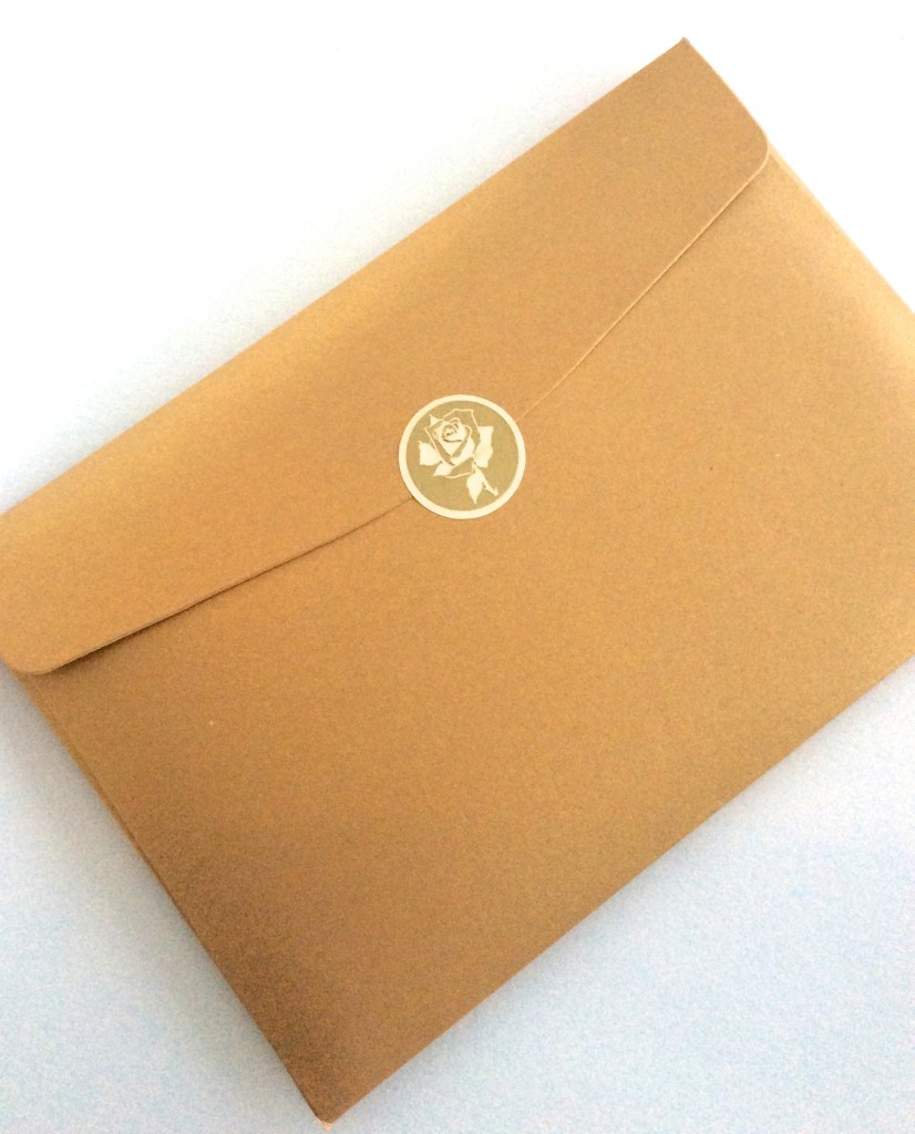 I have fallen in love with these gold sturdy envelopes that enclose the artwork
