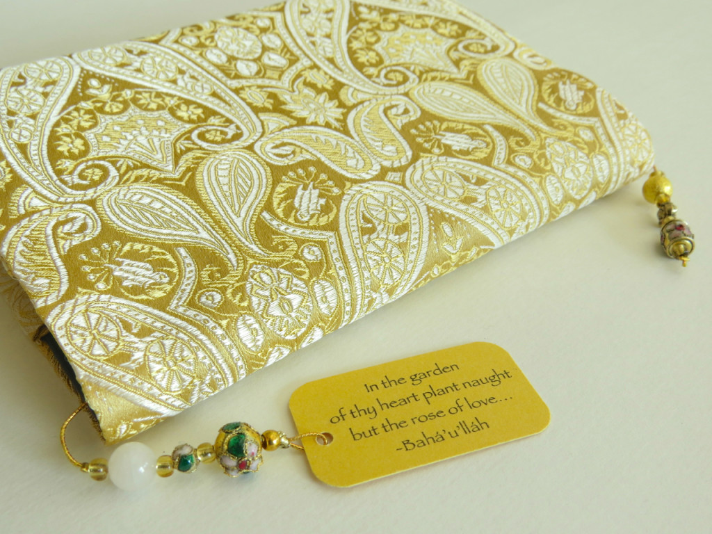 Gold beaded bookmark with paisley gold prayer book cover