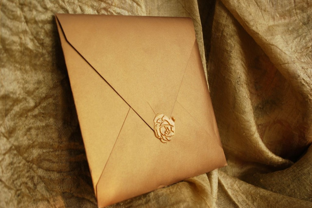 Gold wax seal on rust gold envelope (I am out of these envelopes)
