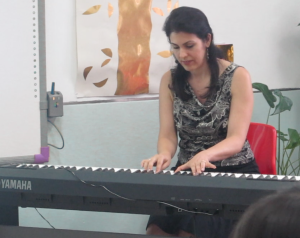 Playing 'Final Journey' live during the presentation