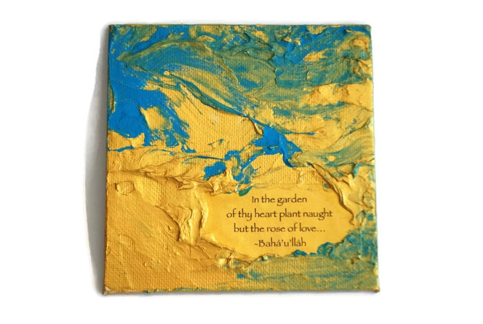 Turquoise art magnet with inspiring quotation