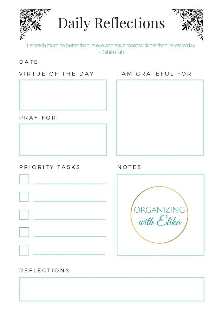 Daily Reflections spiritual Sheet