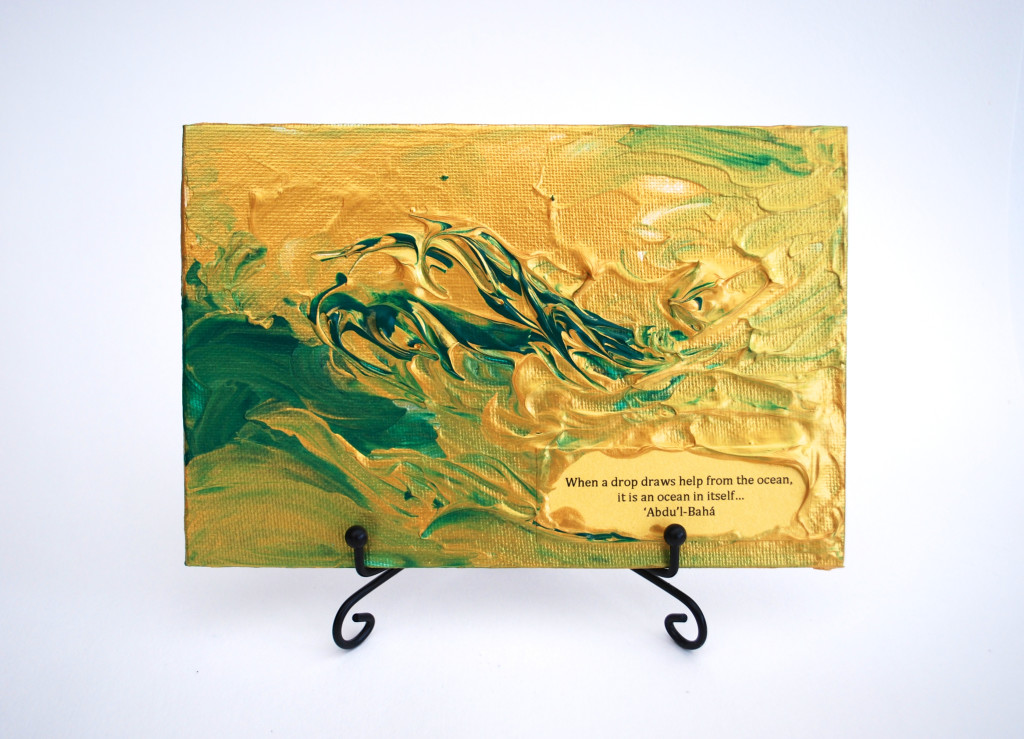Abstract mini rectangular canvas with quotation from track 'Infinite Bounty'