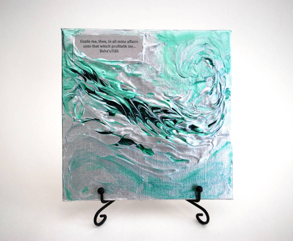 Art mini square canvas with inspiring quotation from the track 'Detached from All Save Thee'