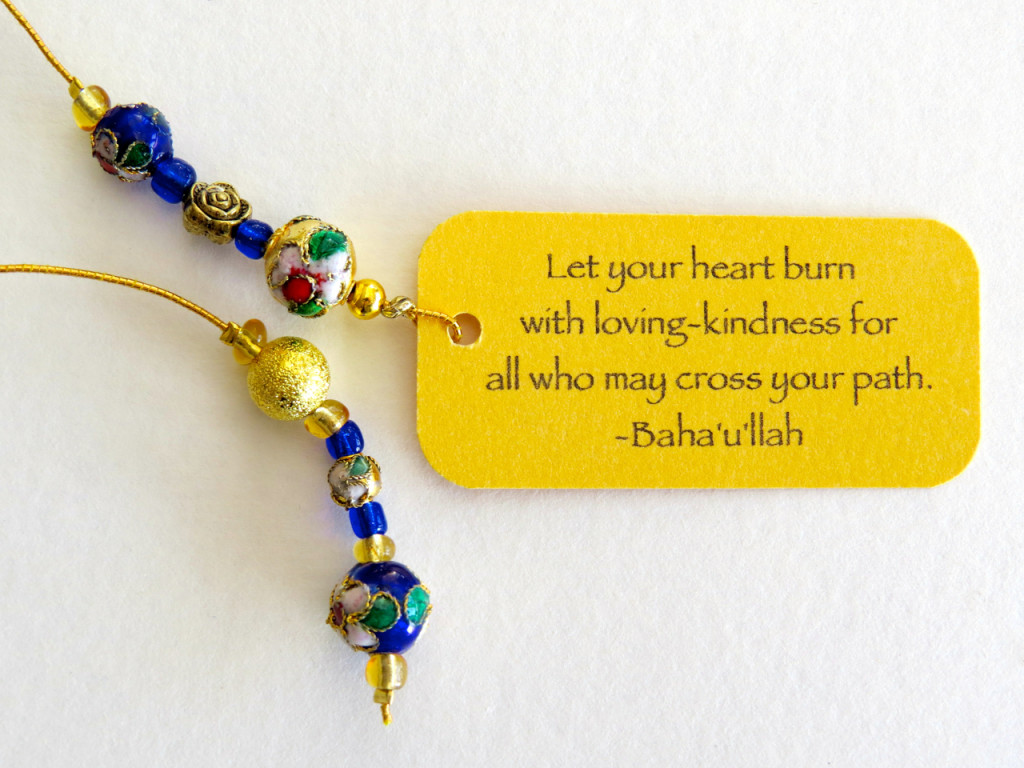 Beaded bookmark dark blue