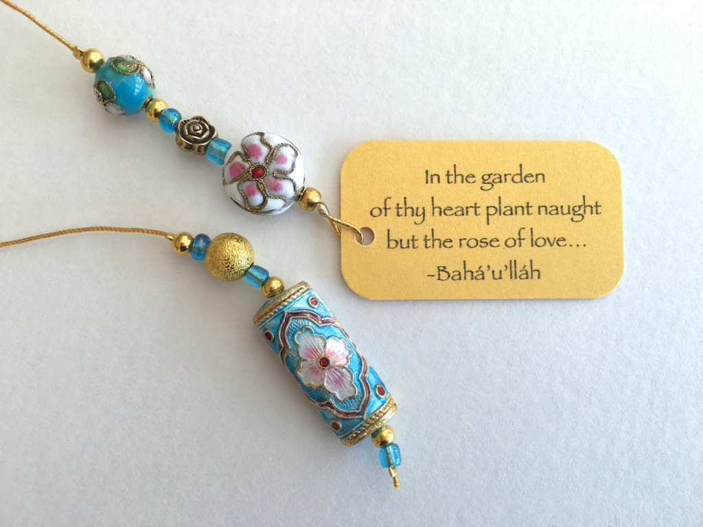 The most elegant of the beaded bookmarks named 'Indian Rose'.
