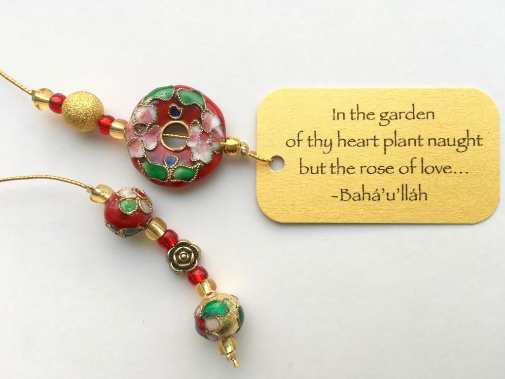 Scarlet Garden Beaded Bookmark