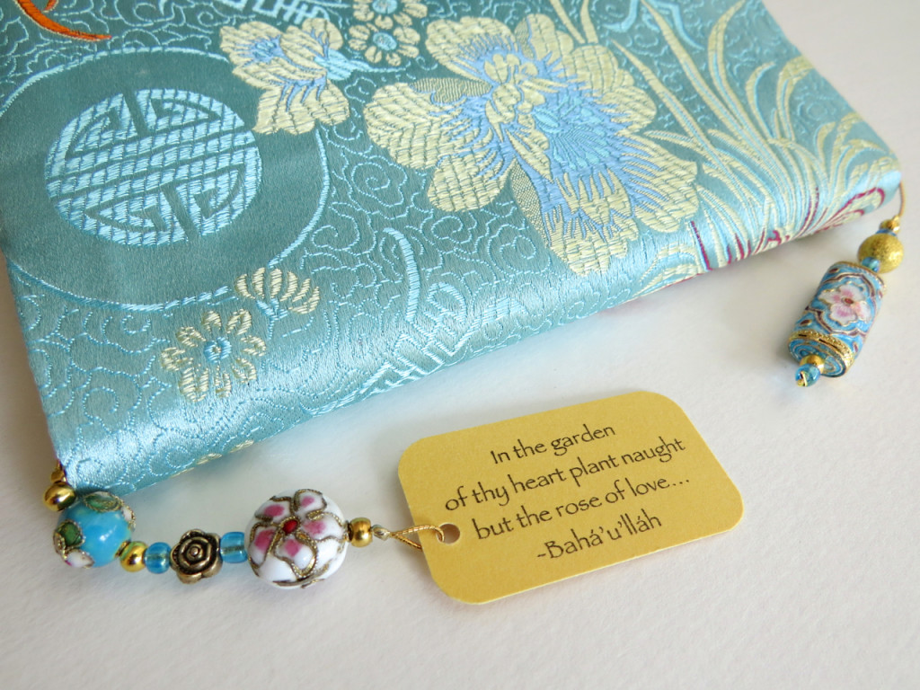 Silk prayer book cover with beaded bookmark