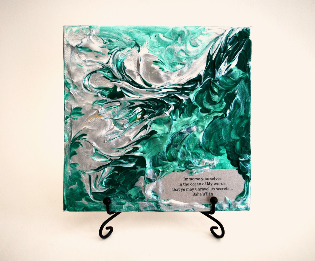 Abstract square art canvas with inspiring quotation from track 'Immerse Yourselves'