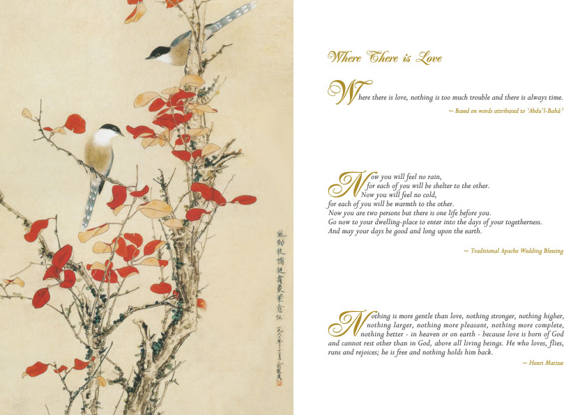 One of the pages inside the Birds of Love gift set